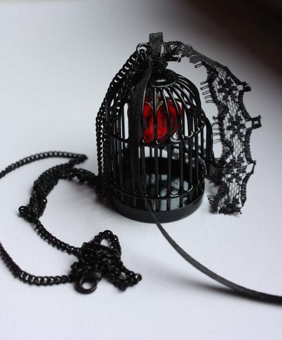 Bird cage locket heart  black gothic pendant