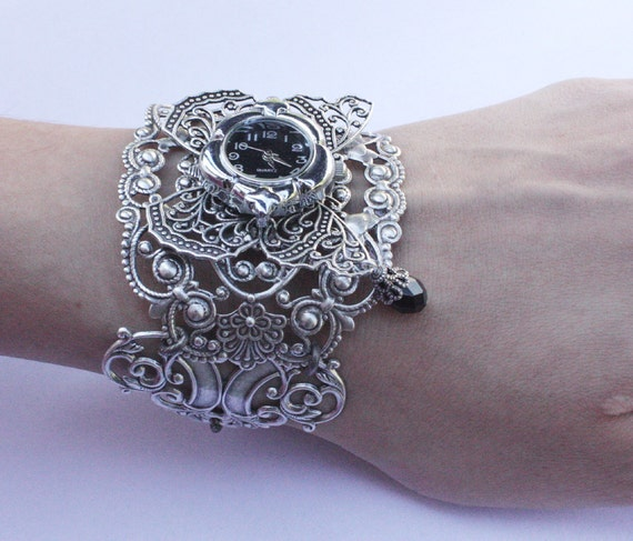 Butterfly Steampunk Watch  Gothic jewelry  Fantasy Bracelet cuff