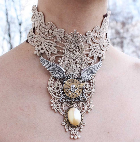 PRE ORDERING item Steampunk choker Ivory venice victorian lacer collar with elegant pearl pendant angels wings skul watch necklace