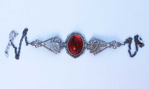 Ruby Red Winged Steampunk Gothic Necklace Filigree Choker
