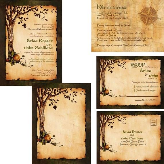 Vintage Rustic Pumpkin And Autumn Tree Wedding Invitation Fall