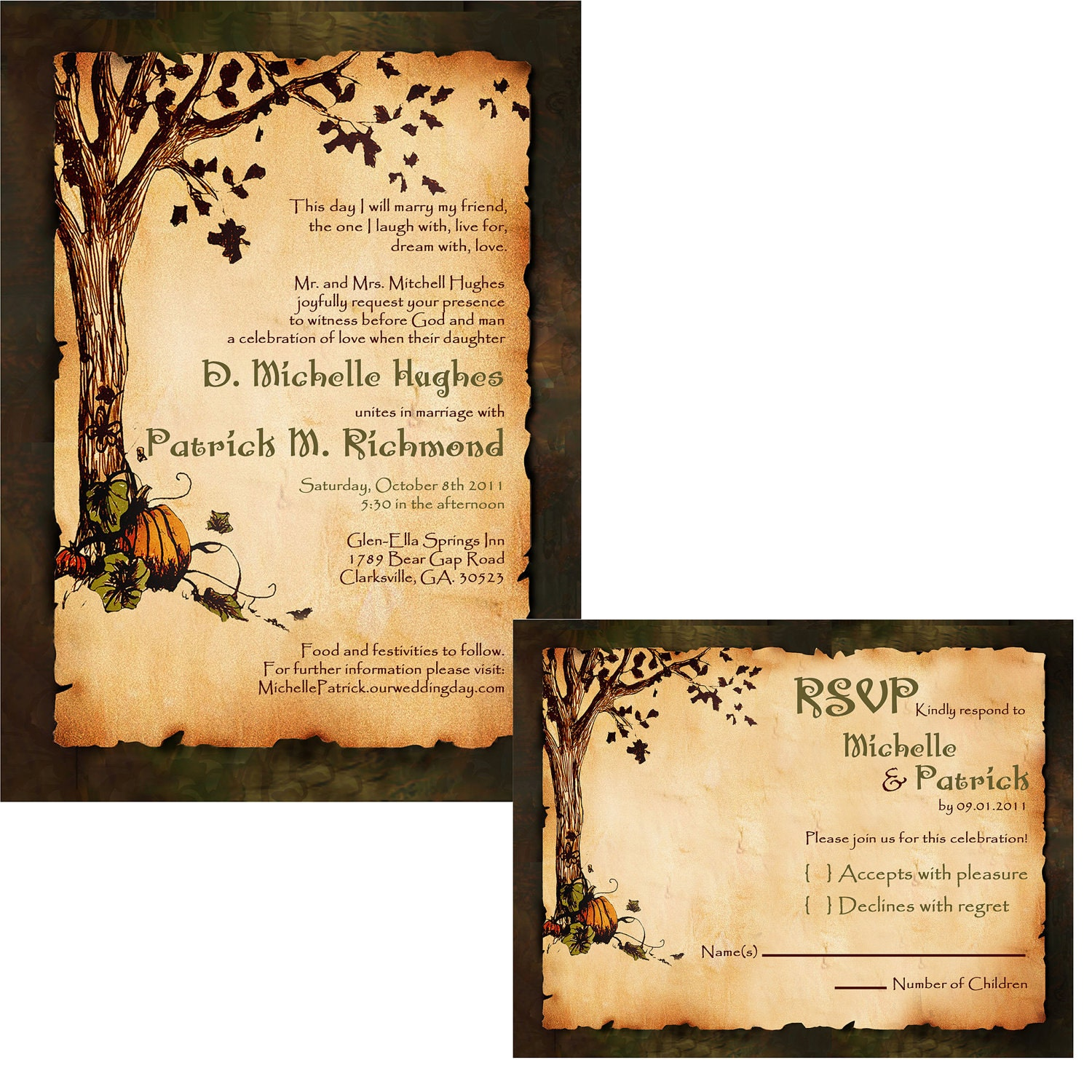 Custom vintage autumn pumpkins wedding invitation set for Fall wedding invitations with pumpkins