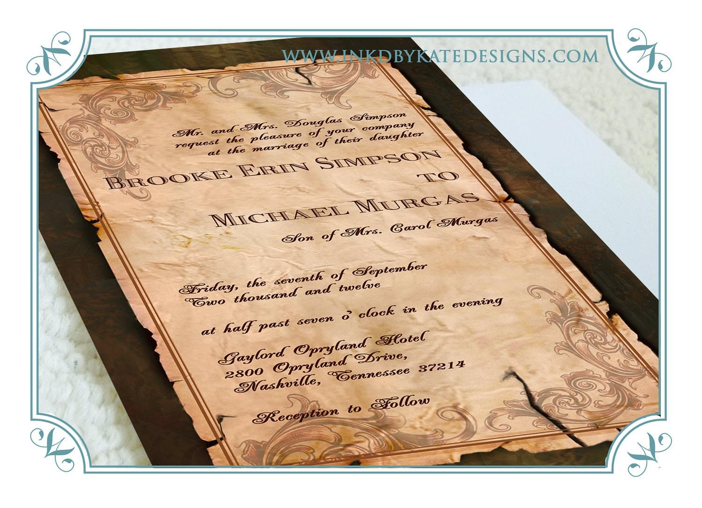 Vintage Scroll And Filigree Wedding Invitation DEPOSIT