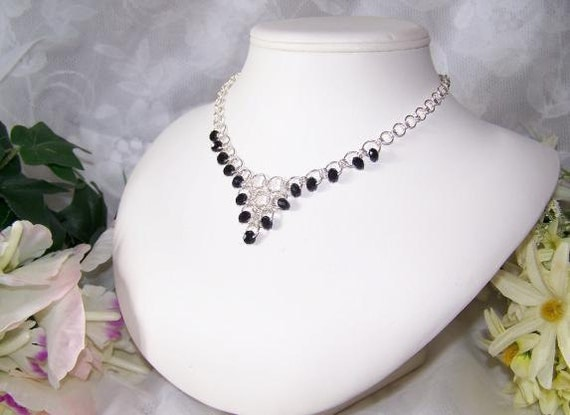 10% OFF SALE - Jet Black Crystal Chainmaille Necklace