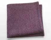 Wool Pocket Square in a heathered purple herringbone