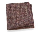 Wool Pocket Square with purple and gray in traditional herringbone pattern