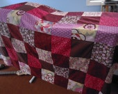 RESERVED FOR NATALIA- Custom Patchwork Picnic Blanket in Reds, Pinks and Browns