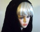 Knit Cowl Scarf Round Oversized Black