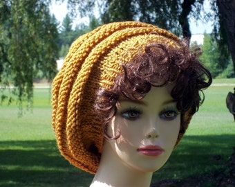 Knit Hat Slouch  Honey Gold
