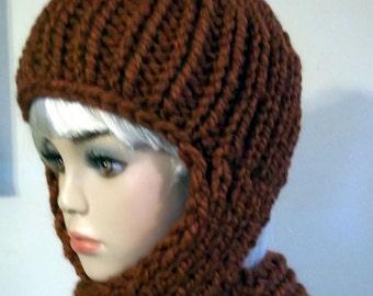 Knit Scarf Hat for Women Rust Orange