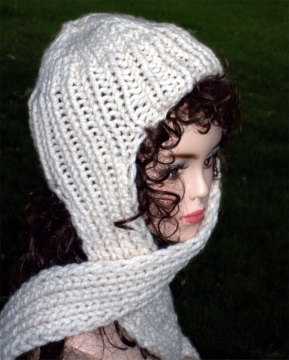 Free Knitting Pattern Scarf Hat Attached : Hand Knit Hat With Attached Scarf