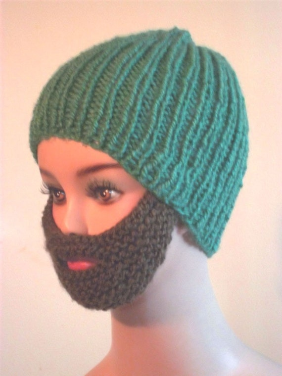 Hand Knit Bearded Beanie - Green