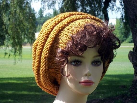 Knit Hat Slouch  Honey Gold