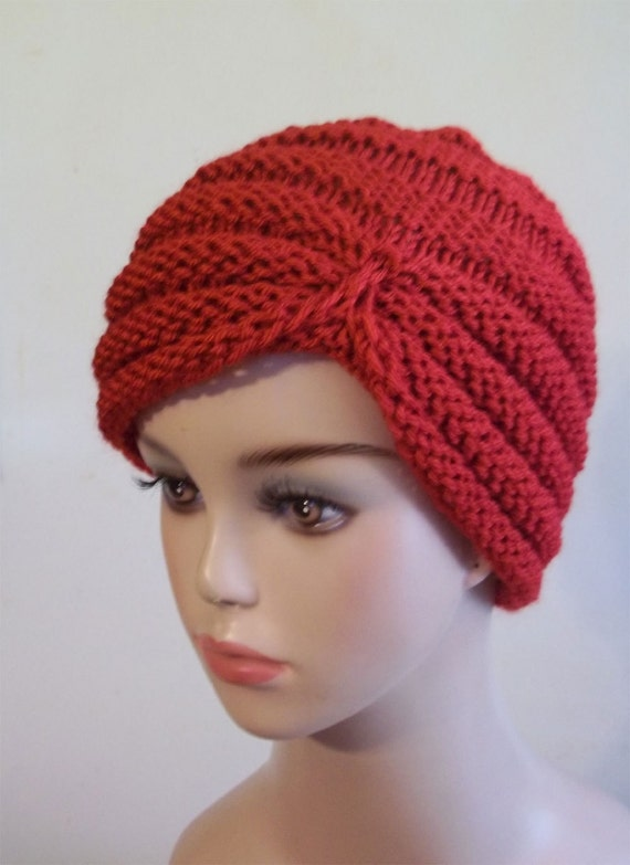 Knit Turban Hat Women Red