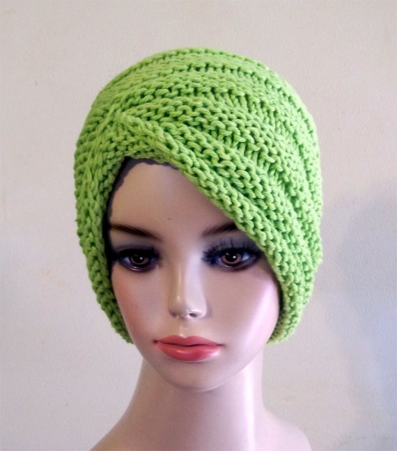 Knit Turban Hat Cotton Women Green