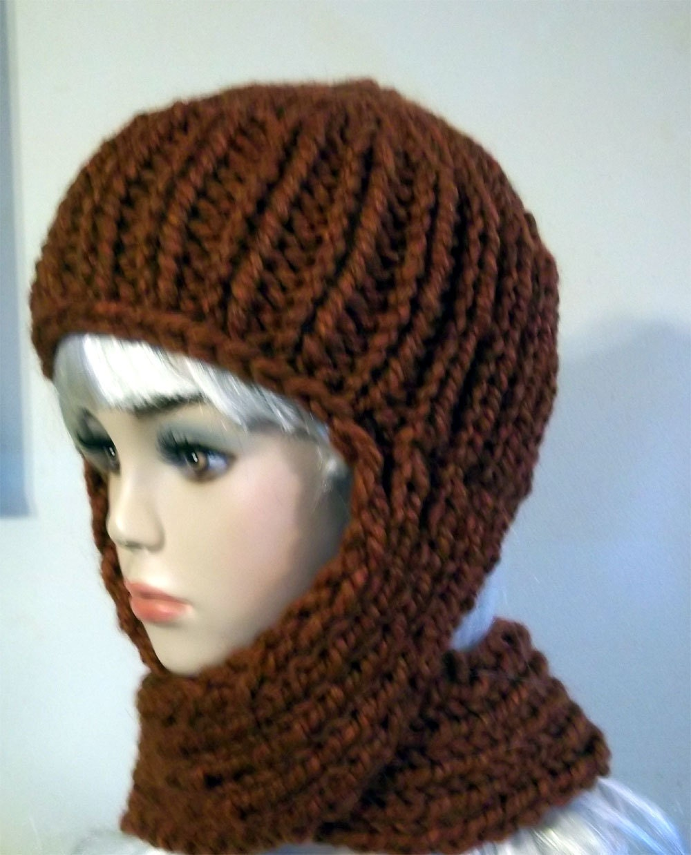 Knitting Pattern For Hat With Scarf Attached : Knit Scarf Hat for Women Rust Orange