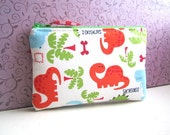 RESERVED for BRITTANY-Zip Wristlet pouch Coin Purse Gadget Case- Cute DINOSAURS (padded)orange green blue white