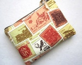PADDED Zip Pouch Gadget Coin Card Case -STAMPS TRAVEL white browns rust green yellow blk