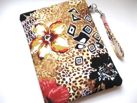 Zip Wristlet iPad 1 or 2 Case Sleeve (Padded) -Cameroon FLORAL ANIMAL PRIMITIVE gold blk brwn