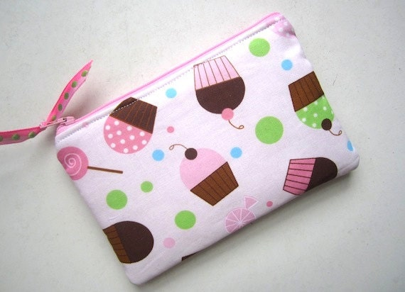 SALE- Padded Zip Pouch Purse Gadget Cell Coin Case Case- CUPCAKES  -pinks green blue