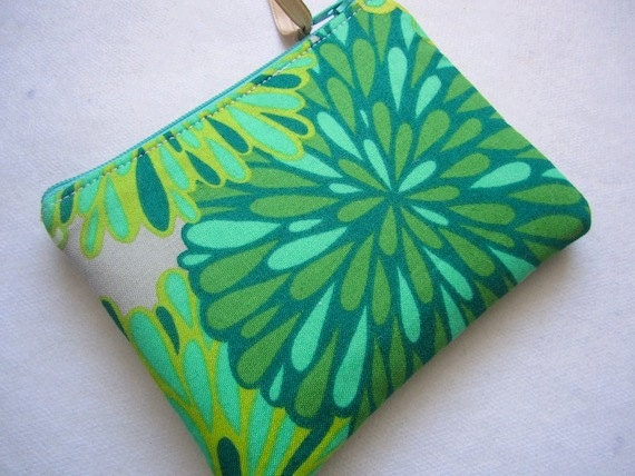 Padded Zip Pouch Coin Purse Gadget Case -WRENLY Bloom -flowers in greens gold aqua taupe
