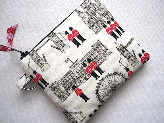 Zip Pouch Gadget Purse Coin Padded w/ key ring- London British landmarks olympics- White Red Taupe Black