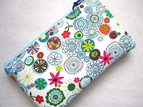 RESERVED for ANNA-Padded Zip Gps Pouch  Case -Wrenly Wildfield- turq green aqua