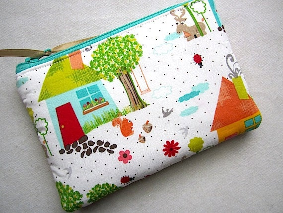 Padded Zip Pouch Purse Gadget coin case - WOODLANDS squirrels birds trees- red greens blue white