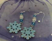 Beaded Dangle Earrings - SNOWFLAKE