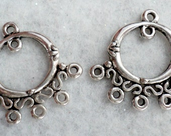 Antiqued Silver Pewter Earring Drops, Connectors - 2 pc.