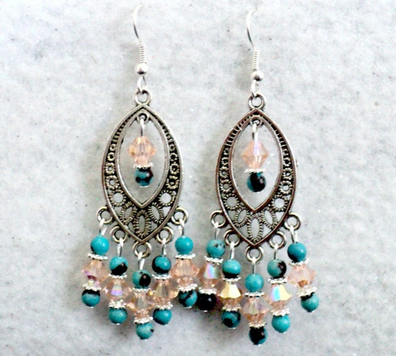 Swarovski Crystal and Turquoise Chandelier Earrings - Reserved for CASEY MARMON