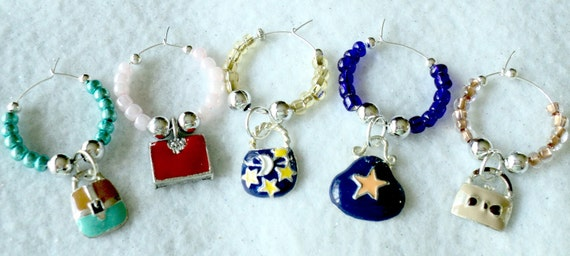 Wine Glass Charms - Set of 5 - SHOPAHOLIC