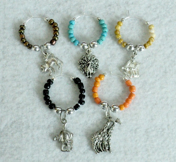 Beaded Wine Glass Charms - Set of 5 - SAFARI