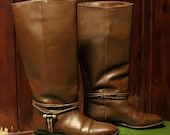 vintage womens leather boots / brown riding boots size 10