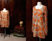 vintage young edwardian tunic / 70s minidress size large / orange print 1970s