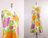 floral cover up / vintage swimwear / 1960s mod beach dress / size large L XL