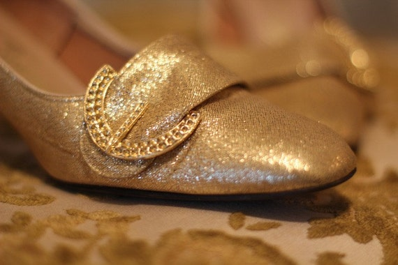 Vintage Marie Antoinette Golden Buckle Shoes