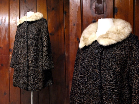 Vintage 1950s Persian Lamb Coat With Fur Collar By