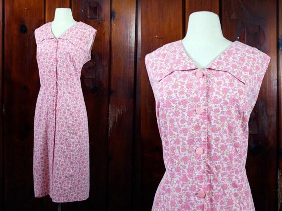 50s pink floral dress / plus size dress / vintage cotton house dress / XL