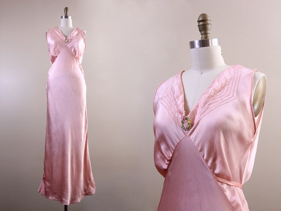1940s nightgown / vintage nightgown 30s 40s lingerie / long floral satin bias cut gown