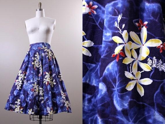 1950s full skirt / hawaiian authentic Kamehameha blue skirt // L XL AND mens matching shirt M
