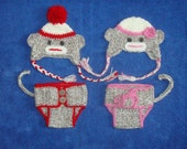 Twins Sock Monkey Set  Photo Prop Sock Monkey Diaper Сover Hat Newborn Photography  Baby Picture Props for Newborn Baby Photo Prop Crochet