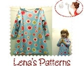 Long sleeve dress sewing pattern - PDF sewing pattern and picture tutorial - sizes 12 Months to 6T - 86EU to 116Eu