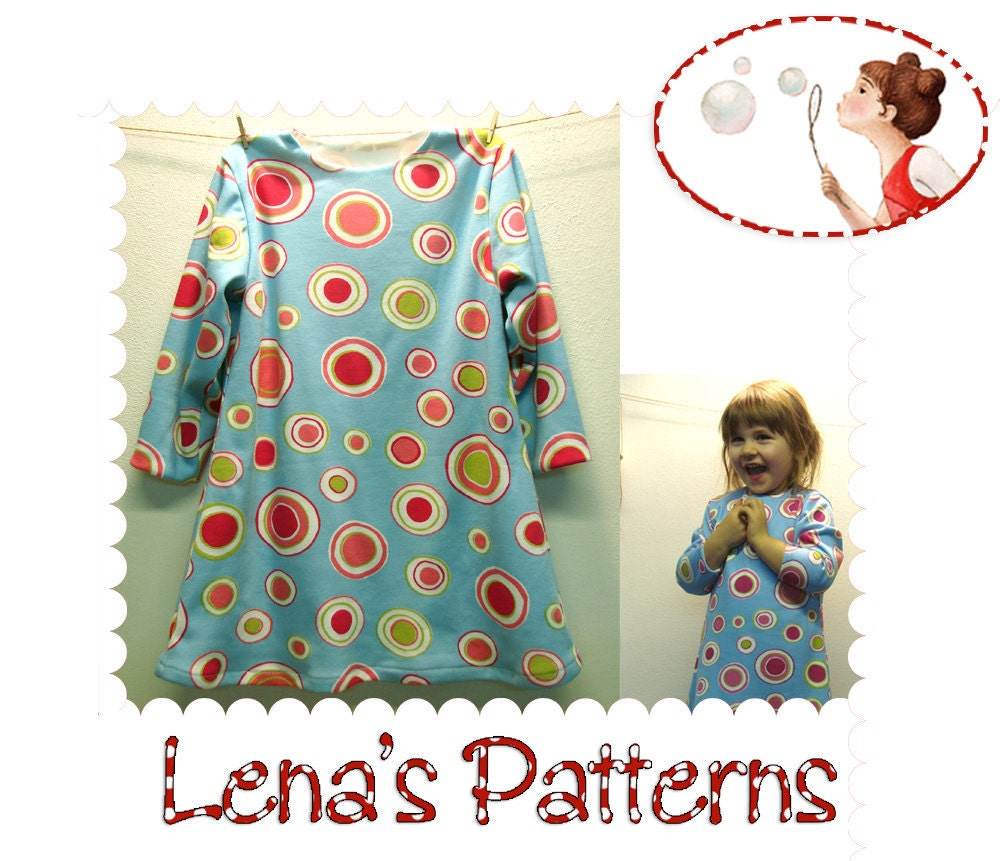 Long sleeve dress sewing pattern PDF sewing pattern and