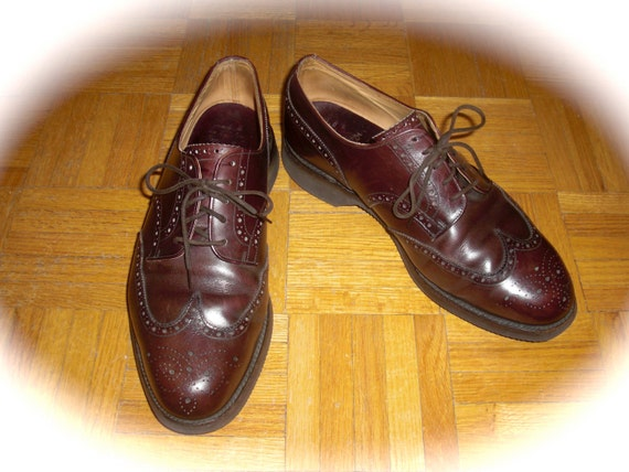 Vintage 1950's British leather wingtips Brown/Burgundy Oxford mens shoes 8.5/9