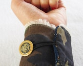 Vintage CAMOUFLAGE fabric CUFF, totally handmade, with golden button and mini ruffle