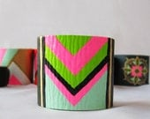 Colorful Tribal / Chevron Style / NEON (Blue, Green, Black, Pink and Beige) Leather Bracelet / Cuff