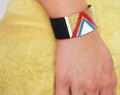 Tribal / Chevron Style / Stripes -- BLACK, GOLDEN, red, white and BLUE, Leather Bracelet / Cuff
