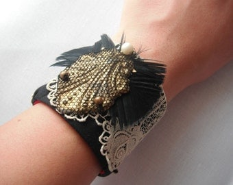 Fancy CUFF with a Unique design- Vintage materials- BLACK, GOLDEN and red