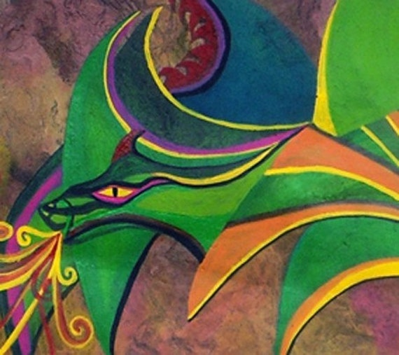 Virulo, el dragon alebrije / Virulo, the alebrije dragon ORIGINAL PAINTING on amate bark paper